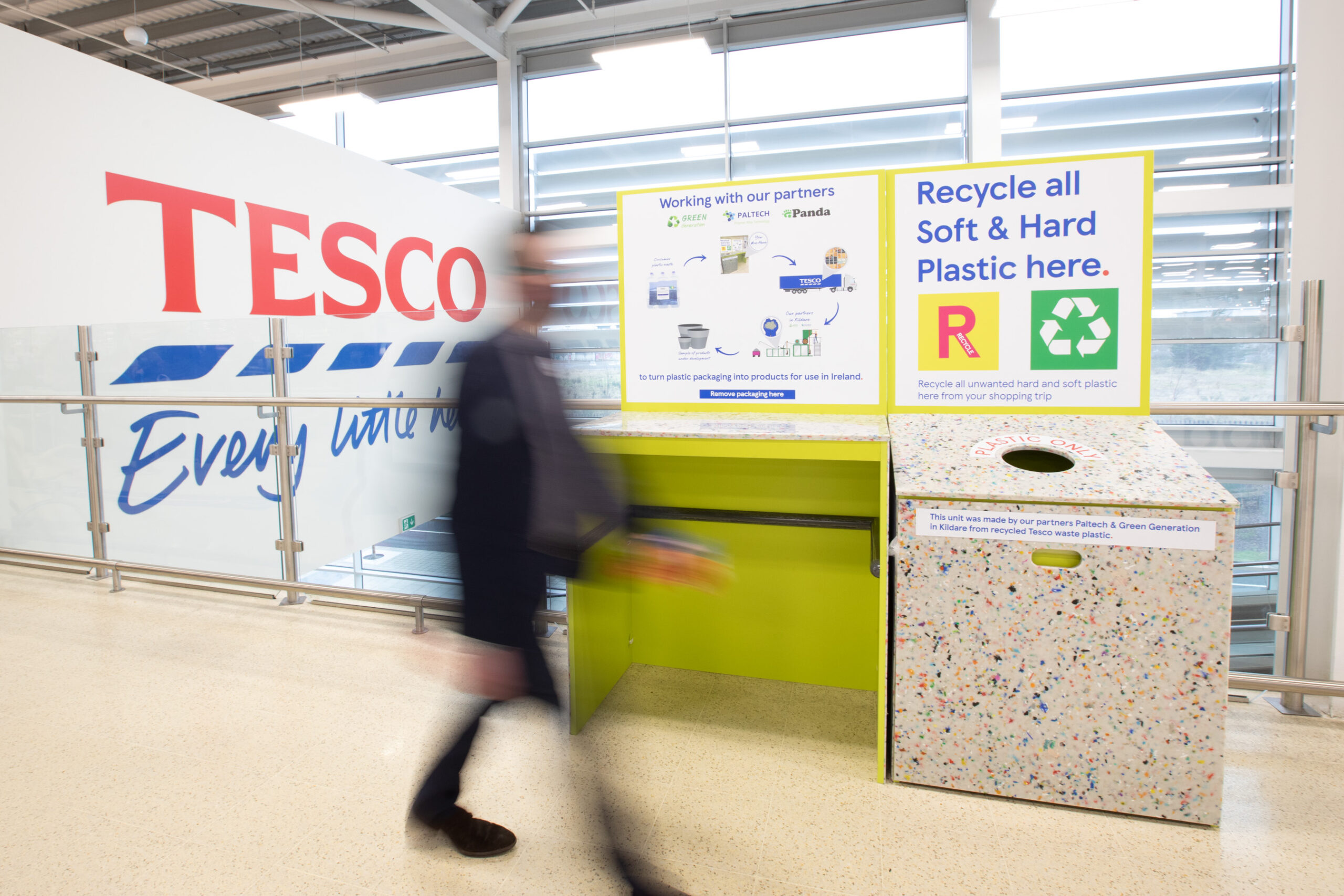 No repro fee 4-2-21 Tesco Ireland has today become the first Irish retailer to create a recycling solution for soft plastics. The retailer is rolling out soft-plasticcollection points (pictured) for customers at its 151 stores nationwide and by March this year will accept unwanted soft-plastics from customers at the end of their shopping trip. Partnering withindigenous Galway basedstart-up Paltech, who have created a patented technology, soft plastics will be flaked and processed into construction materials to be used in the Tesco Ireland store network for new stores, in store maintenance and refits including buildings, car-park barriers and signage, in the near future.Pic:Naoise Culhane-no fee